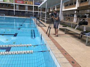 Poolside filming